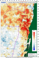 Карта пространственного распределения разности значений температуры